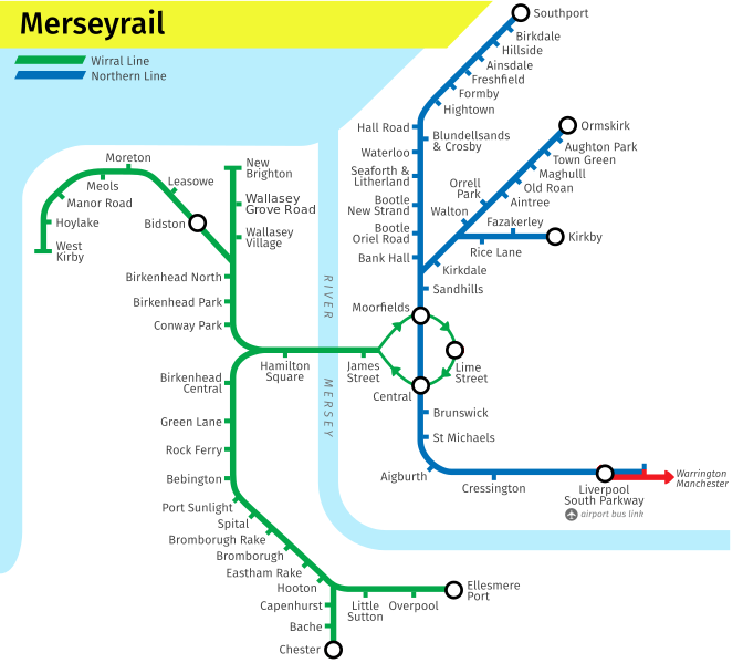 Merseyrail Day Saver route map